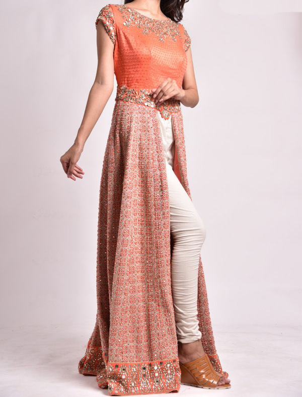 Best-out-of-waste-indo-western-kurti-with-heavy-work