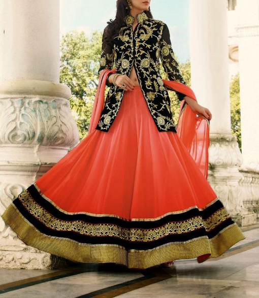 Best-out-of-waste-indo-western-lehenga-with-mid-length-jacket