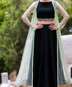Best-out-of-waste-indo-western-with-lehenga-and-long-koti