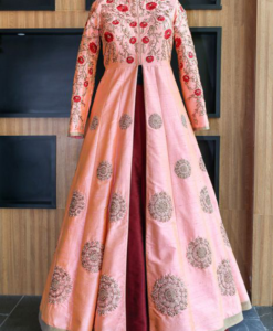 Best-out-of-waste-indo-western-with-long-jacket-and-lehenga