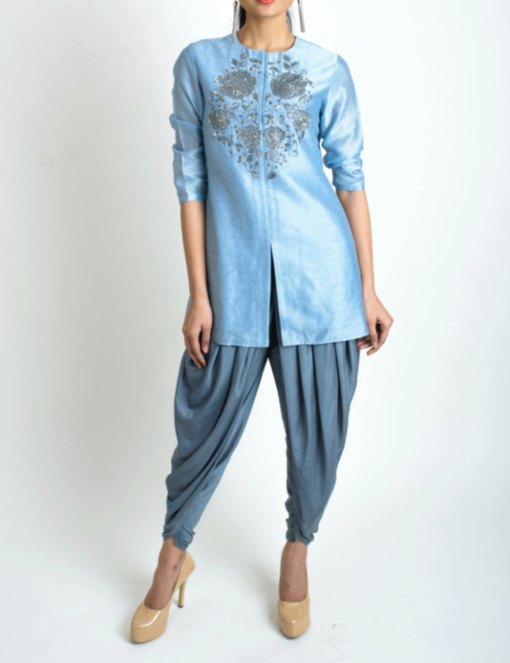 Best-out-of-waste-salwar-kameez-straight-kurti-with-dhoti