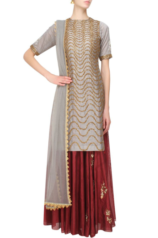 Best-out-of-waste-salwar-kameez-straight-kurti-with-skirt