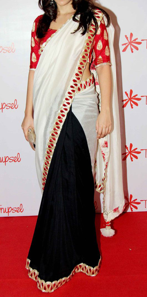 Best-out-of-waste-sarees-half-and-half-designer-saree