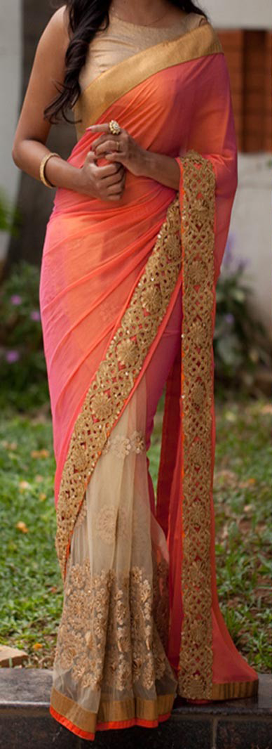 Best-out-of-waste-sarees-half-and-half-style
