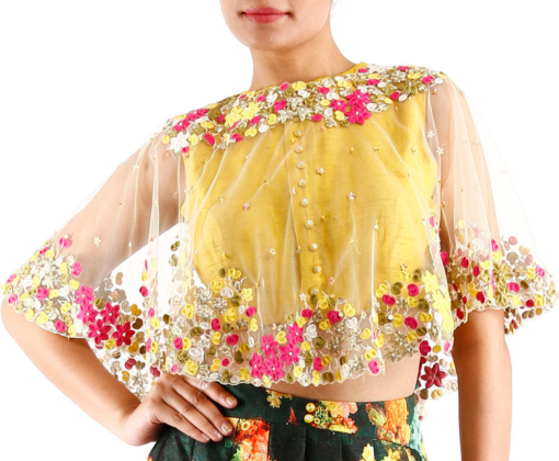 Best-out-of-waste-blouses-cape-style-blouse