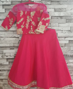 Best-out-of-waste-kids-wear-for-girls-lehenga-with-simple-border