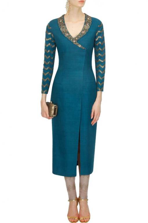 Best-out-of-waste-kurti-calf-length-casual-kurti-with-light-work