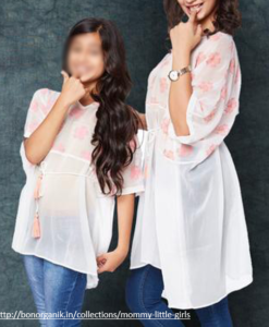 Best-out-of-waste-mom-and-Daughter-kaftan-kurti-Design
