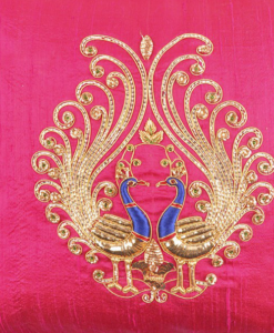 Best-out-of-waste-works-zardosi-peacock-design