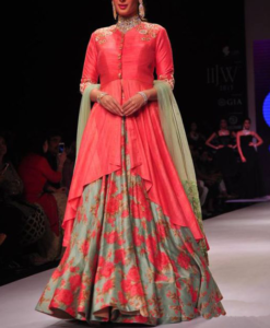 Best-out-of-waste-anarkali-ankle-length-anarkali-with-tail-cut-jacket-style-choli
