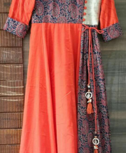 Best-out-of-waste-kurtis-ankle-length-Contrast-colour-pattern-with-buttons