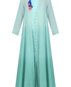 Best-out-of-waste-kurtis-calf-length-stylish-pattern-with-high-neck-design