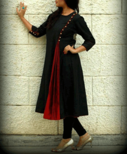 best-out-of-waste-kurtis-knee-length-side-button-with-contrast-cut-design