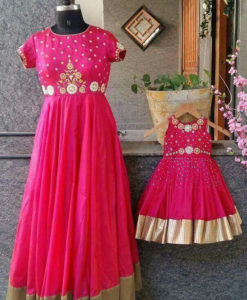Best-out-of-waste-mom-and-daughter-Party-wear-anarkali-dress-design