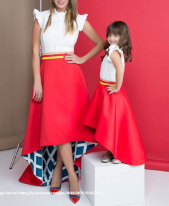 Best-out-of-waste-mom-and-daughter-Skirt-with-top-design