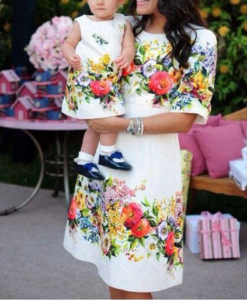 Best-out-of-waste-mom-and-daughter-printed-frock-Design
