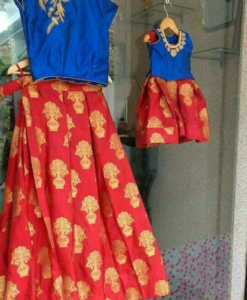 Best-out-of-waste-mom-and-daughter-traditional-croptop-and-skirt-design