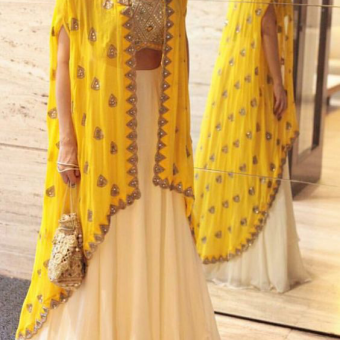 Best-out-of-waste-Indo-western-with-long-open-jacket-and-lehenga
