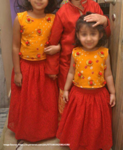 Best-out-of-waste-brother-kurta-with-sister-skirt-and-top-design