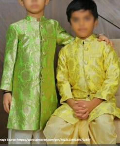 Best-out-of-waste-brothers-sherwani-with-dhoti-design
