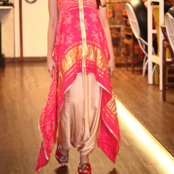 Best-out-of-waste-indo-western-dhoti-with-high-low-kurta