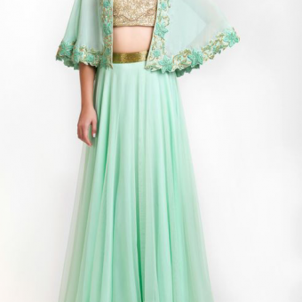 Best-out-of-waste-indo-western-open-cape-style-top-with-skirt