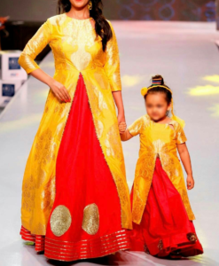 Best-out-of-waste-mom-and-daughter-lehenga-with-long-koti-indo-western-design