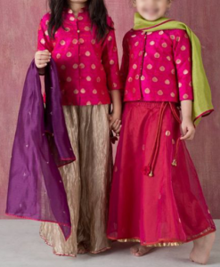 Best-out-of-waste-sisters-lehenga-set-design