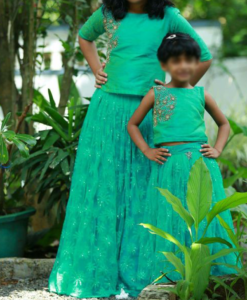 Best-out-of-waste-sisters-skirt-with-top-dress-design