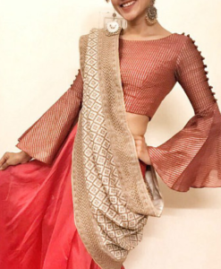 Best-out-of-waste-blouses-bell-sleeves--blouse--design