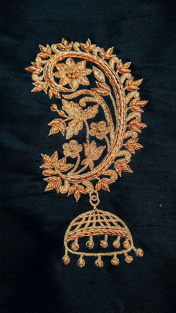 Best-out-of-waste-works-zardosi-earing-pattern-design