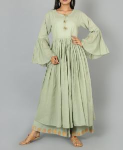Best-out-of-waste-anarkalis-calf-length-anarkali-with-designer-neck-and-sleeves