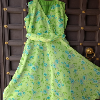 Green-color-summer-gown
