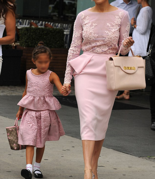 Best-out-of-waste-mom-and-daughter-peplum-style-skirt-and-top-design