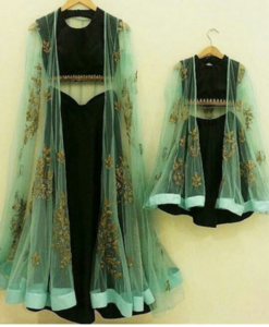 Best-out-of-waste-mom-and-daughter-lehenga-with-stylish-blouse-and-jacket-indo-western-design